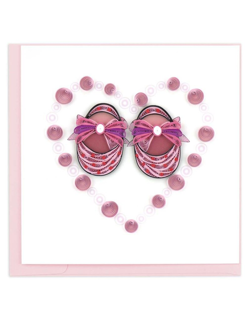 Quilling Card - Pink Baby Booties