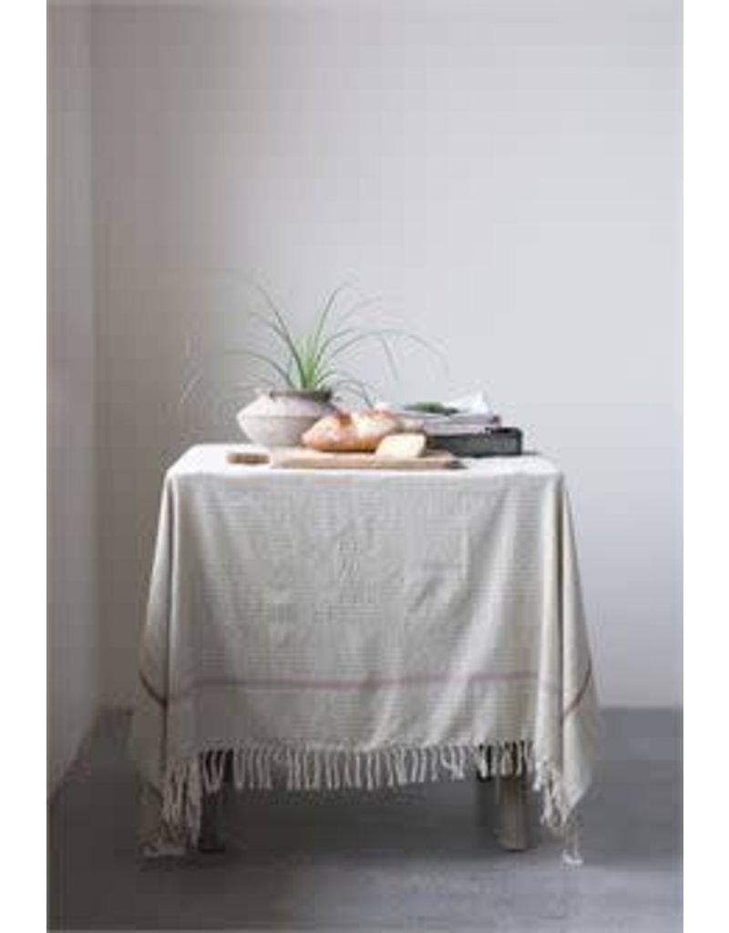 Cotton Woven Tablecloth w/ Fringe, Green w/ Stripes