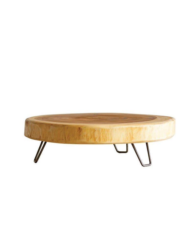 Acacia Wood Pedestal w/ Metal Legs