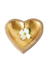 Mango Wood Heart Tray, Gold Leaf Inside Finish