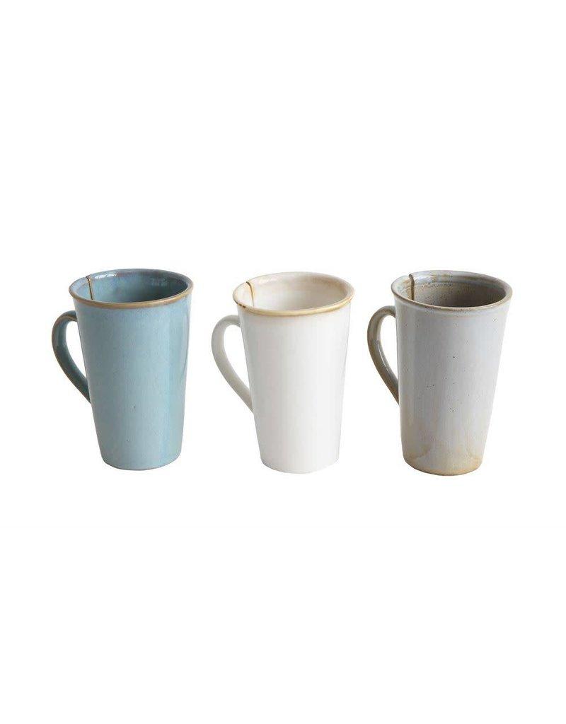 12 oz. Stoneware Mug w/ Tea Bag Slot, Reactive Glaze, 3 Colors