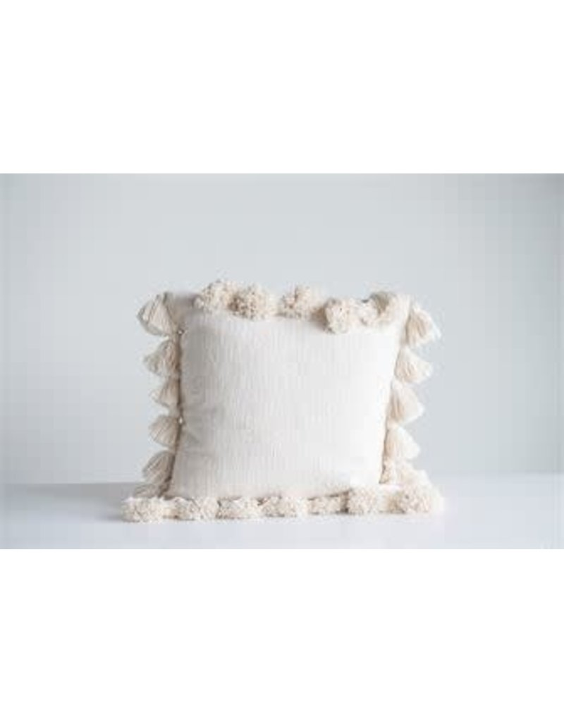 "18"" Square Cotton Pillow w/Tassels-Cream White"