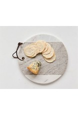 """9"""" Round Marble Cheese Board w/ Leather Tie, Grey & White"""