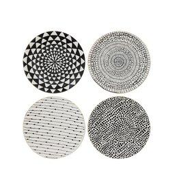 "8-1/4"" Round Stoneware Dish, Black Pattern w/ Gold Electroplating, 4 Styles-Set of 4"