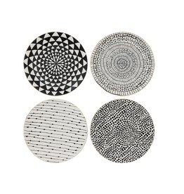 "8-1/4"" Round Stoneware Plate, Black Pattern w/ Gold Electroplating, 4 Styles-Set of 4"