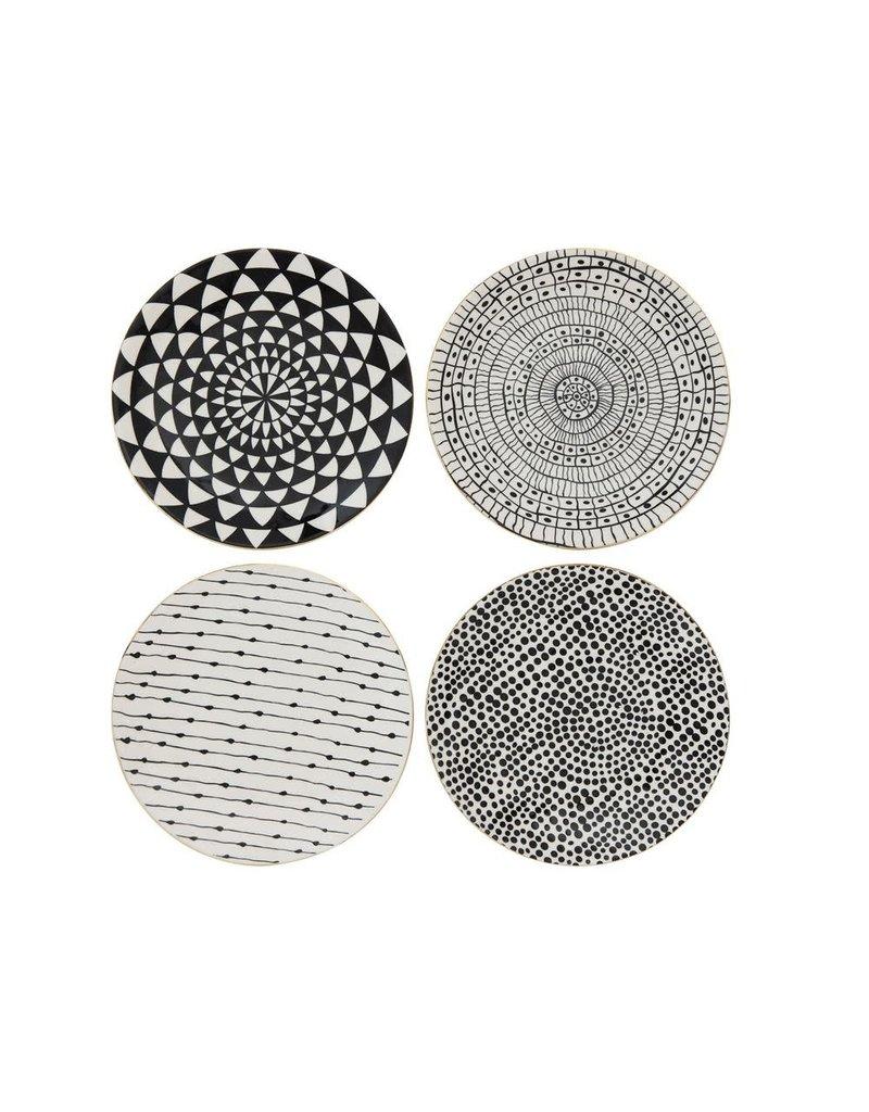 "8-1/4"" Round Stoneware Plate, Black Pattern w/ Gold Electroplating, 4 Styles-Set of 4"