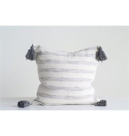 "18"" Square Cotton Woven Striped Pillow w/ Tassels-White & Grey"