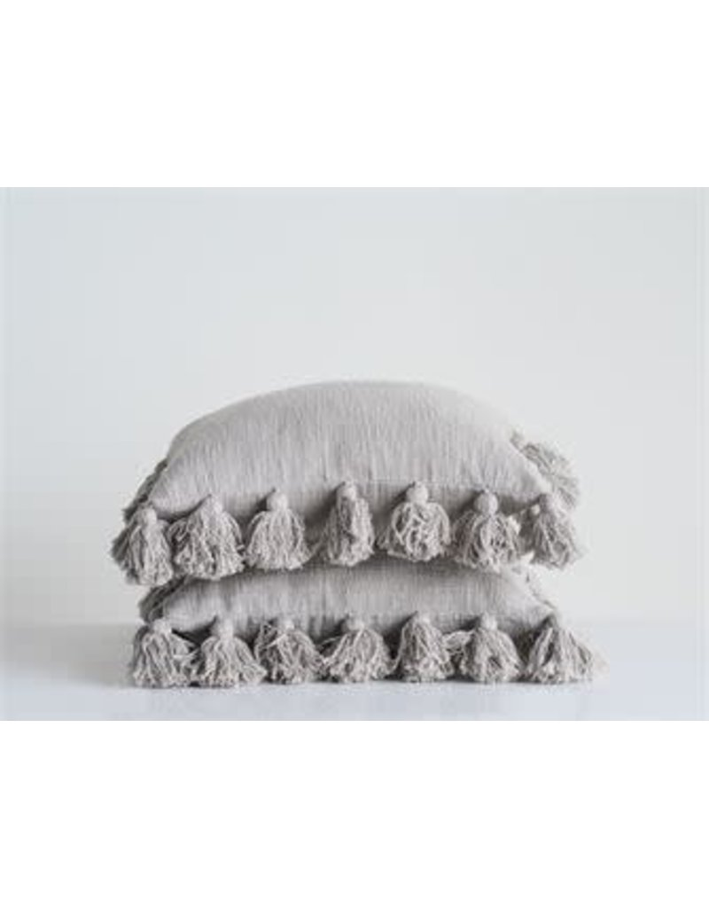 "18"" Square Cotton Pillow w/ Tassels-Grey"