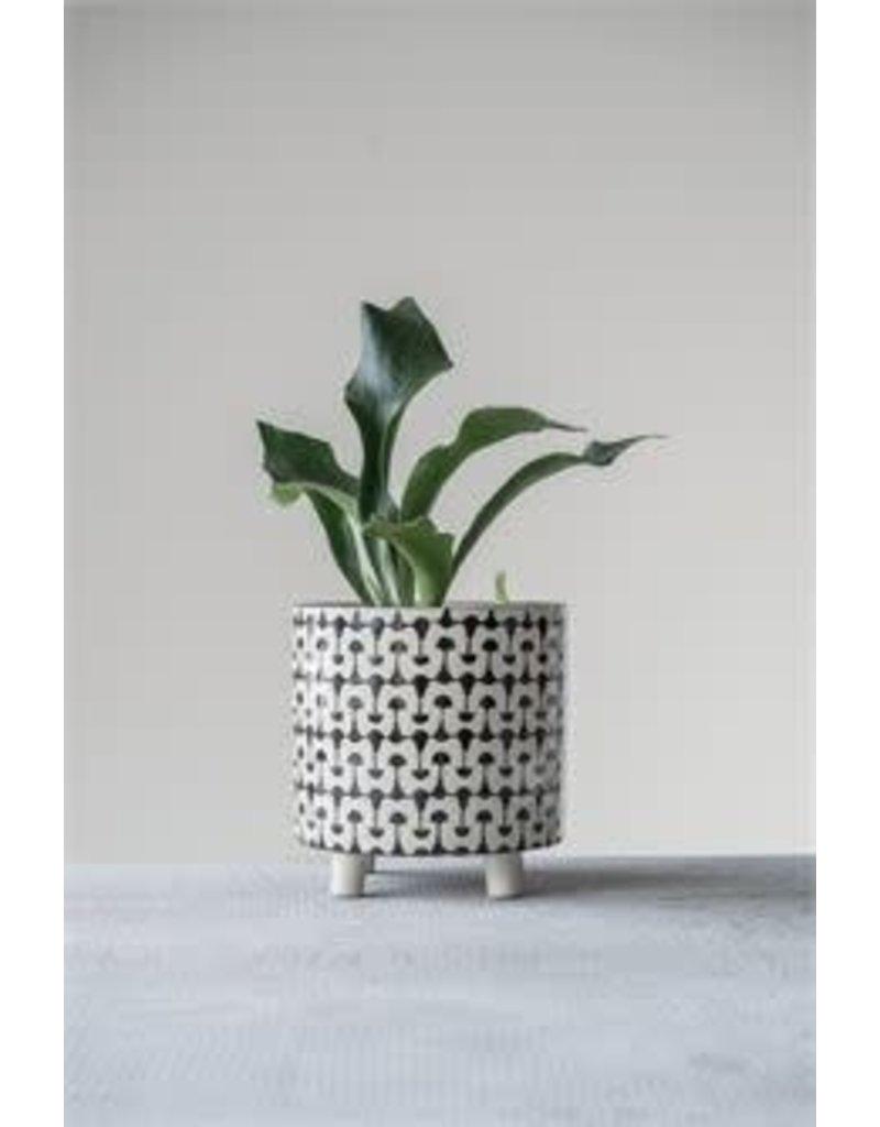 """8"""" Round x 8-1/4""""H Stoneware Planter, Black & White Print"""