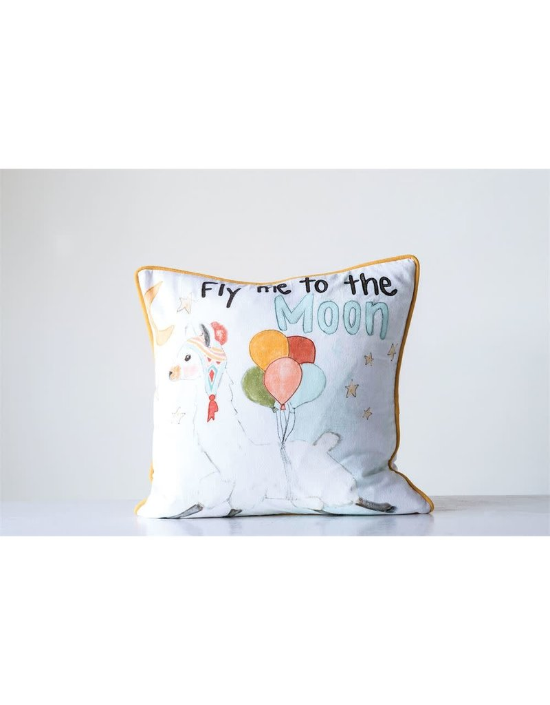 "18"" Square Cotton Pillow ""Fly Me To The Moon"""