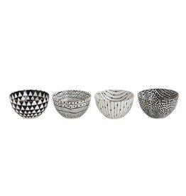 "5"" Round Stoneware Bowl, Black Pattern w/ Gold Electroplating, 4 Styles-Set of 4"