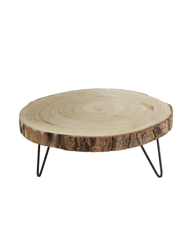 "11"" Round Paulownia Wood Pedestal w/ Metal Legs"