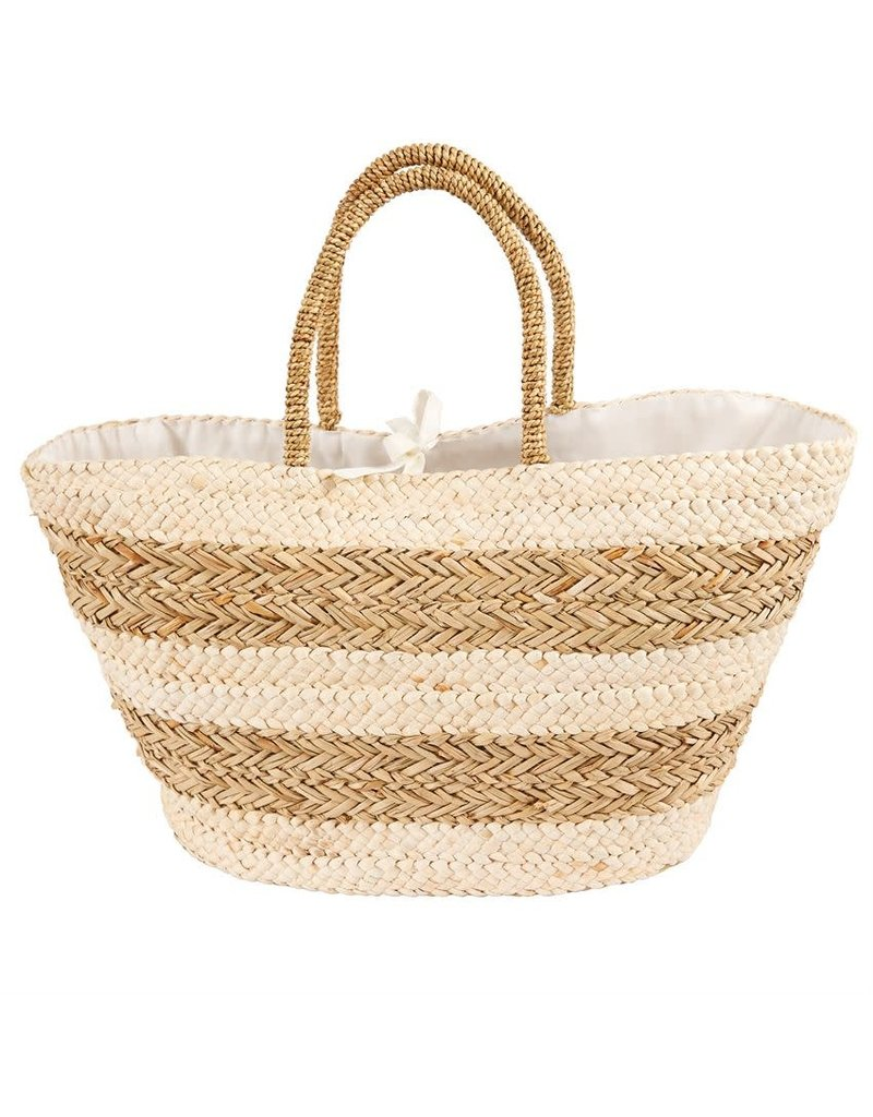 Striped Straw Basket Tote Bag