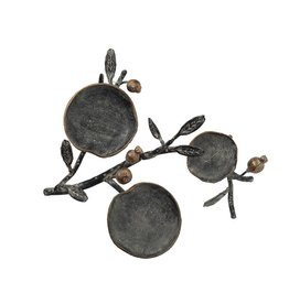 Metal Pillar Holder w/ Cast Iron Pomegranates (Holds 3 Pillars)
