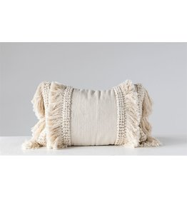 Cotton & Chenille Woven Lumbar Pillow w/ Fringe, Cream Color
