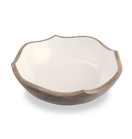 Wood & Enamel Quartrefoil Bowl