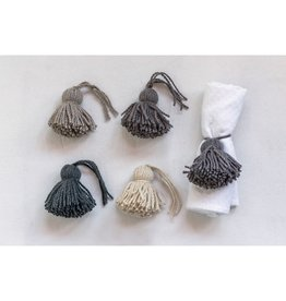 Wool Tassel Napkin Rings-Set/4 Colors