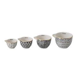 Stoneware Measuring Cups w/ Black Pattern & Gold Electroplating, Set of 4