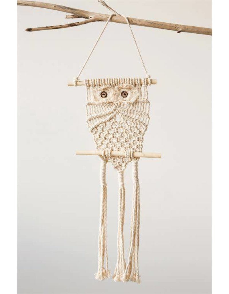 "10"" x 29"" Hanging Cotton Macrame Owl"