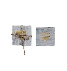 Marble Coasters w/Wood Heart Inlay-Set/4