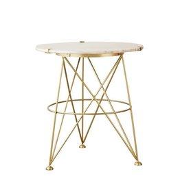 "24"" H Metal/Grey Marble Table"