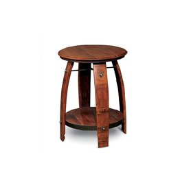 Barrel Side Table w/Shelf-Pine Stain