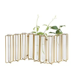 Metal & Glass Test Tube Vase