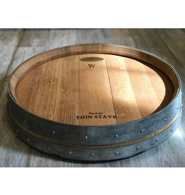 "24"" Wine Barrel Lazy Susan w/ Two Bands"