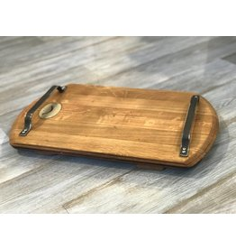 Wine Barrel Cutting Board with Metal Handles