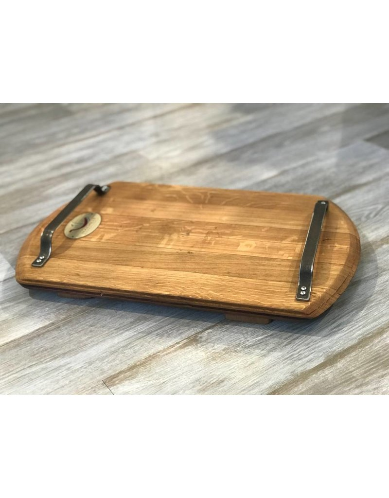 Wine Barrel Cutting Board with Metal Handles