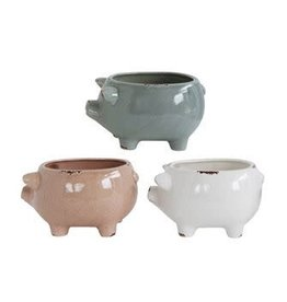 "9"" Stoneware Pig-3 colors"