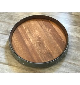 "24"" Wine Barrel Lazy Susan w/One Band"