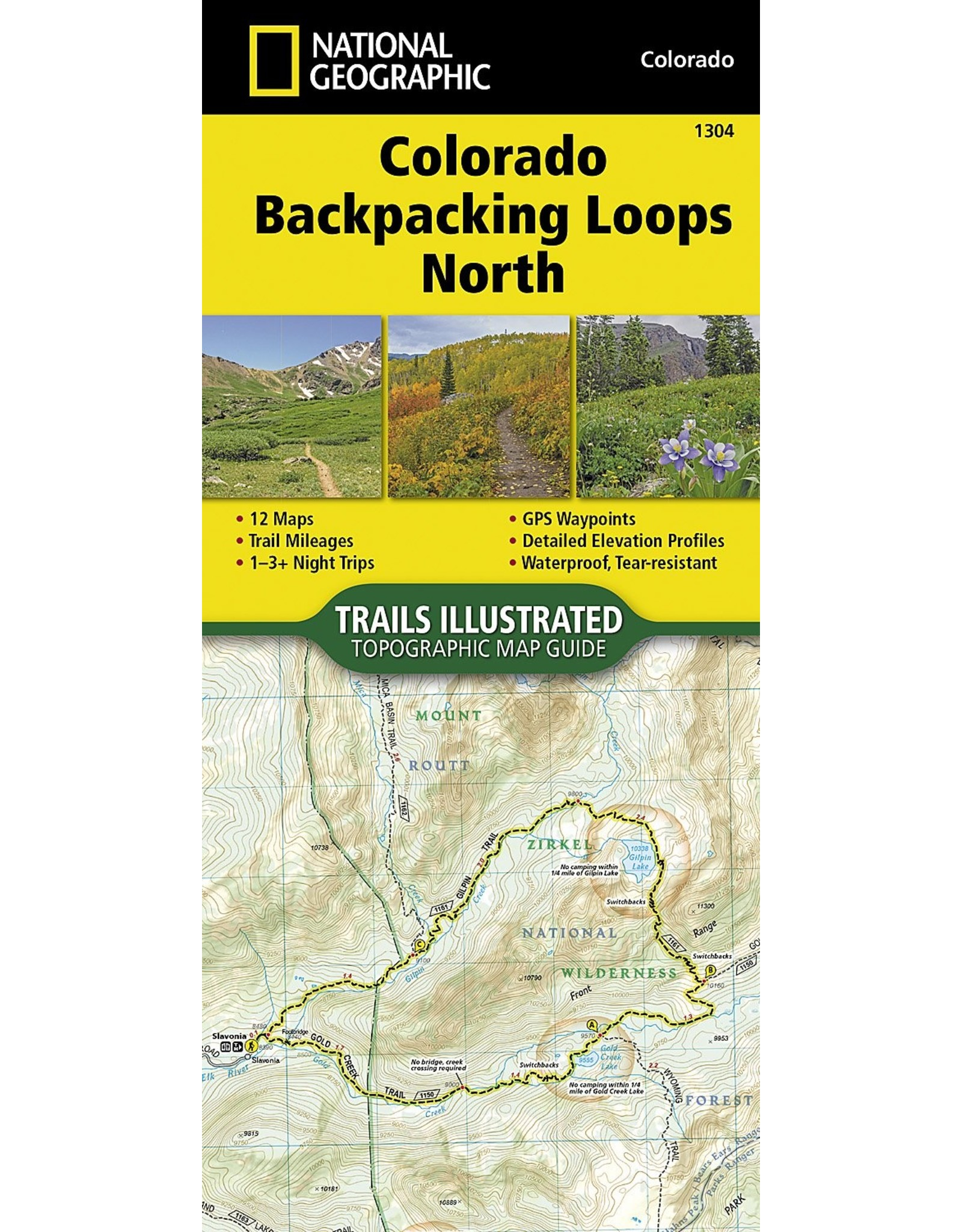 Colorado Backpack Loops North (National Geographic Topographic Map Guide (1304)) Map