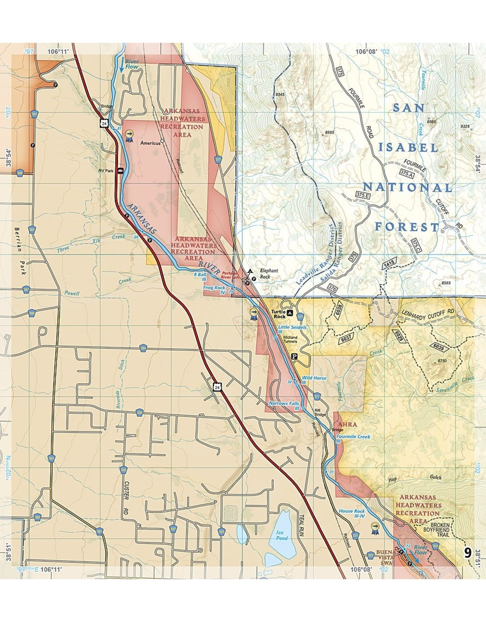 Arkansas River, Leadville to Salida (National Geographic Fishing & River Map Guide (2303)) Map