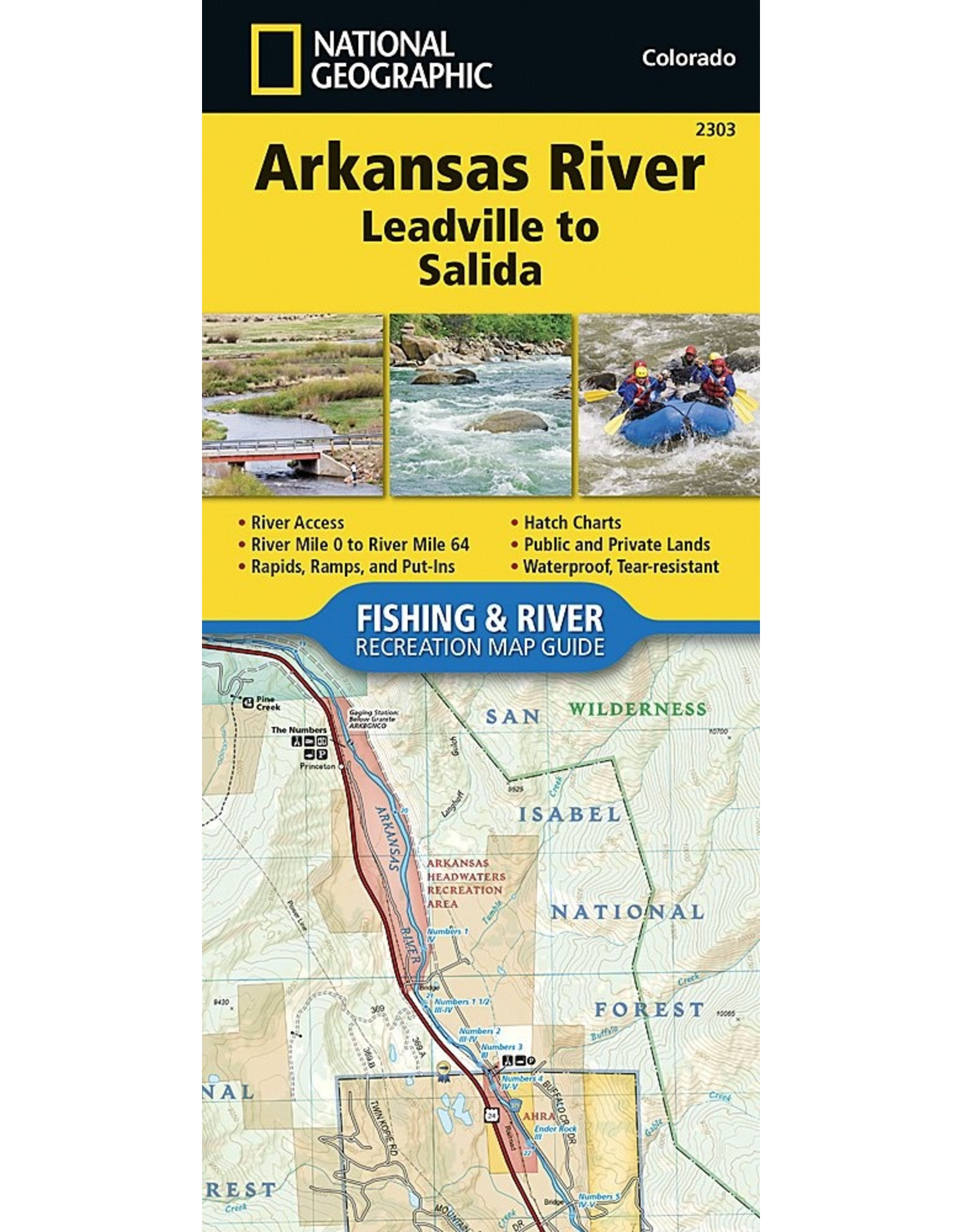 Nat Geo Arkansas River, Leadville to Salida (National Geographic Fishing & River Map Guide (2303)) Map