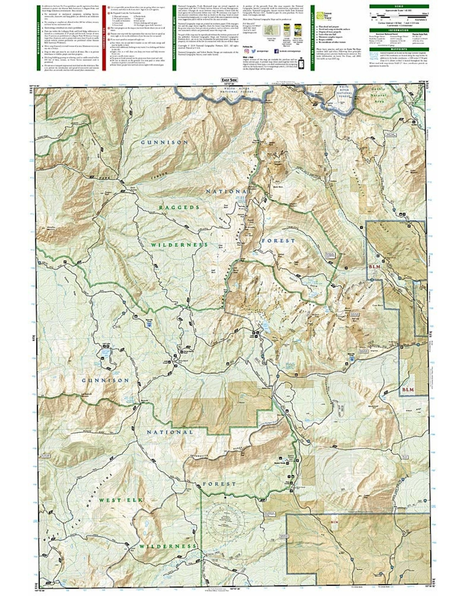 Nat Geo Kebler Pass, Paonia Reservoir (National Geographic Trails Illustrated Map, 133) 2019