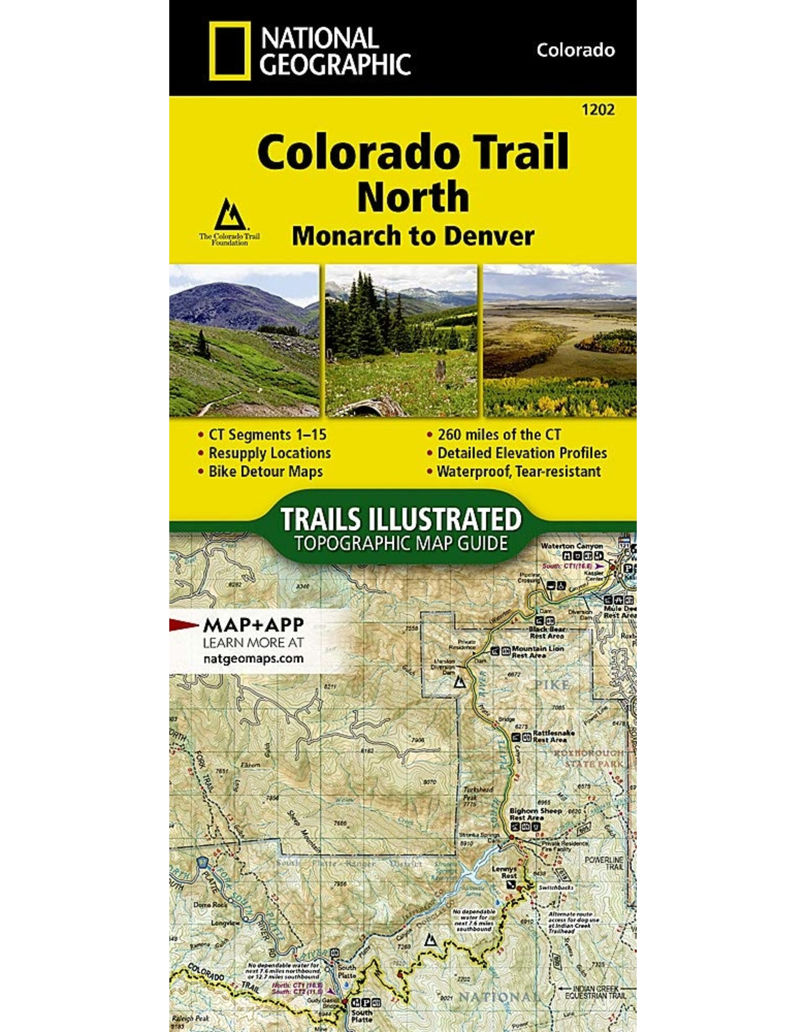 Nat Geo Colorado Trail North, Monarch to Denver (National Geographic Topographic Map Guide, 1202) Map – Folded Map