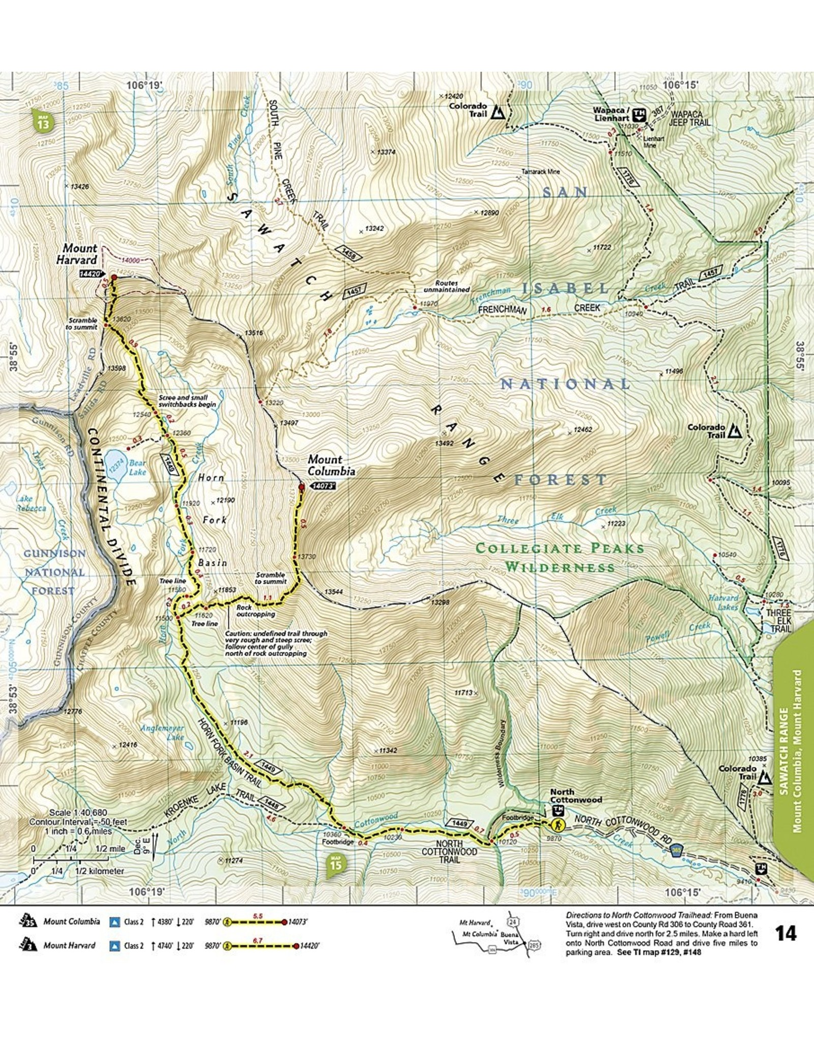 Nat Geo Colorado 14ers North [Sawatch, Mosquito, and Front Ranges] (National Geographic Topographic Map Guide, 1302) Map – Folded Map