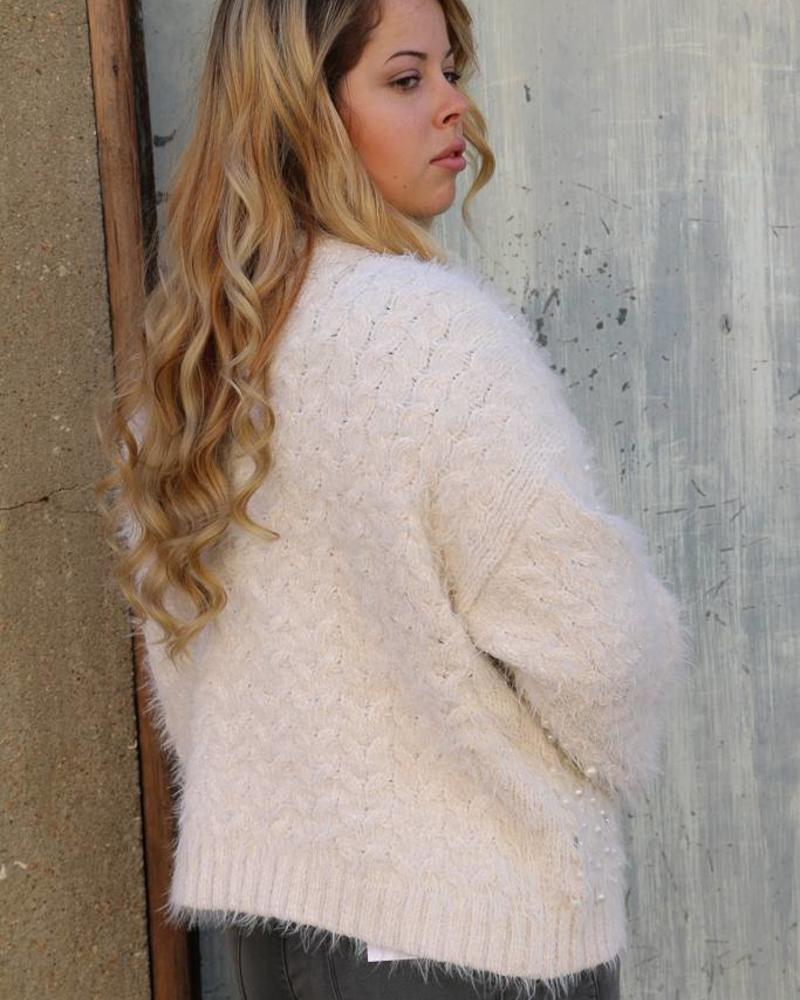 Cream Alpaca Knit Pearl Embroidered Cardigan -