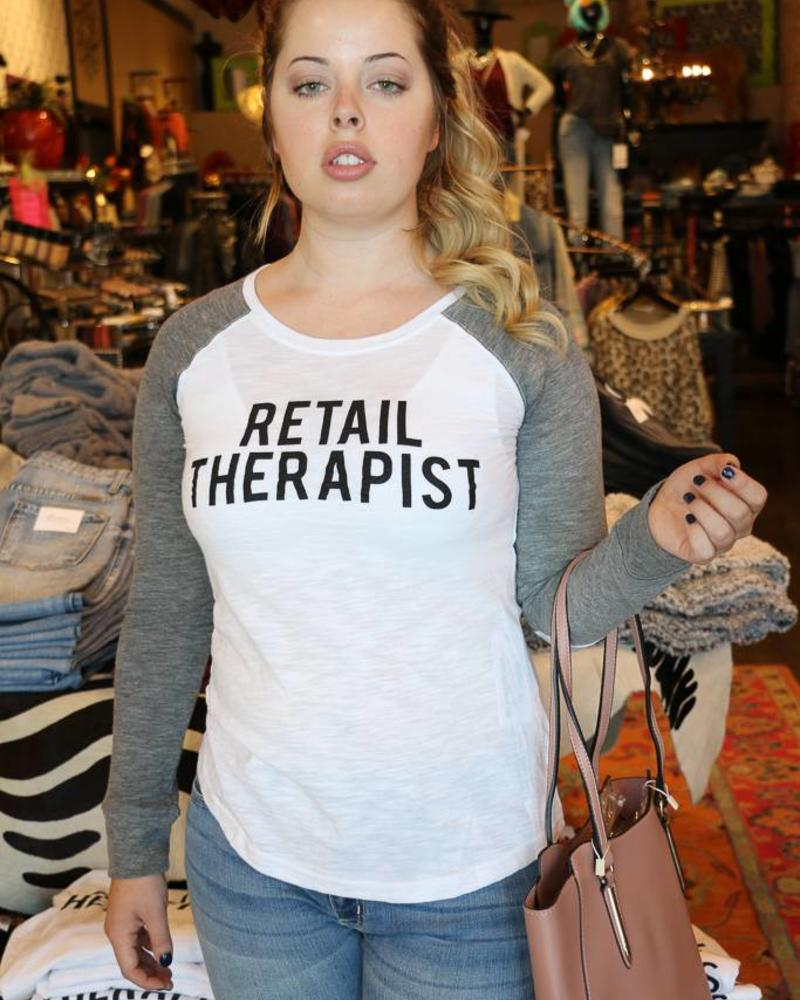 Retail Therapist Long Sleeve Baseball Tee -