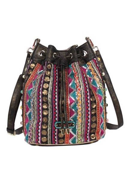 BLACK BOHO BUCKET CROSSBODY