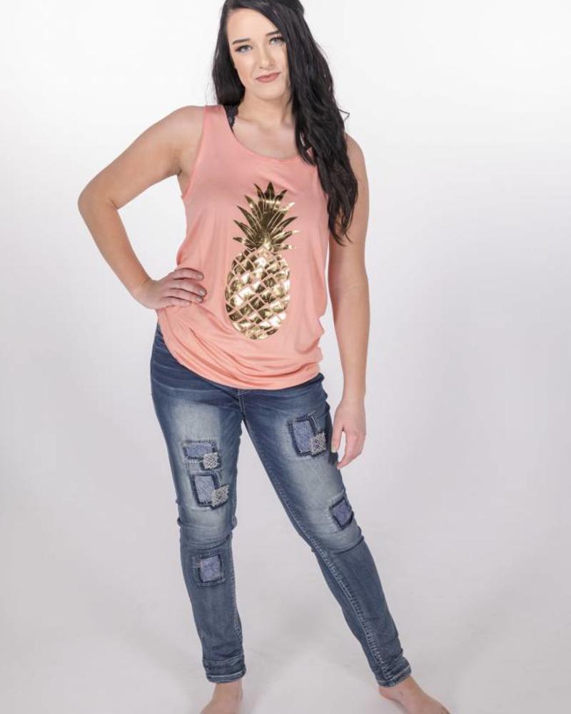 Coral Pineapple Gold Print Tank -