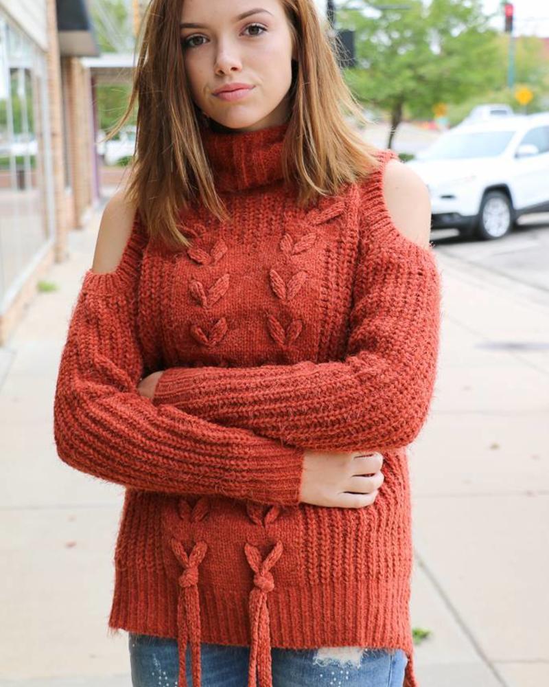 Miss Me Miss Me Lace-up Cold Shoulder Turtleneck Sweater-