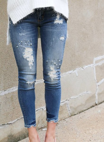 Miss Me Mid-Rise Bejewled Ankle Skinny -