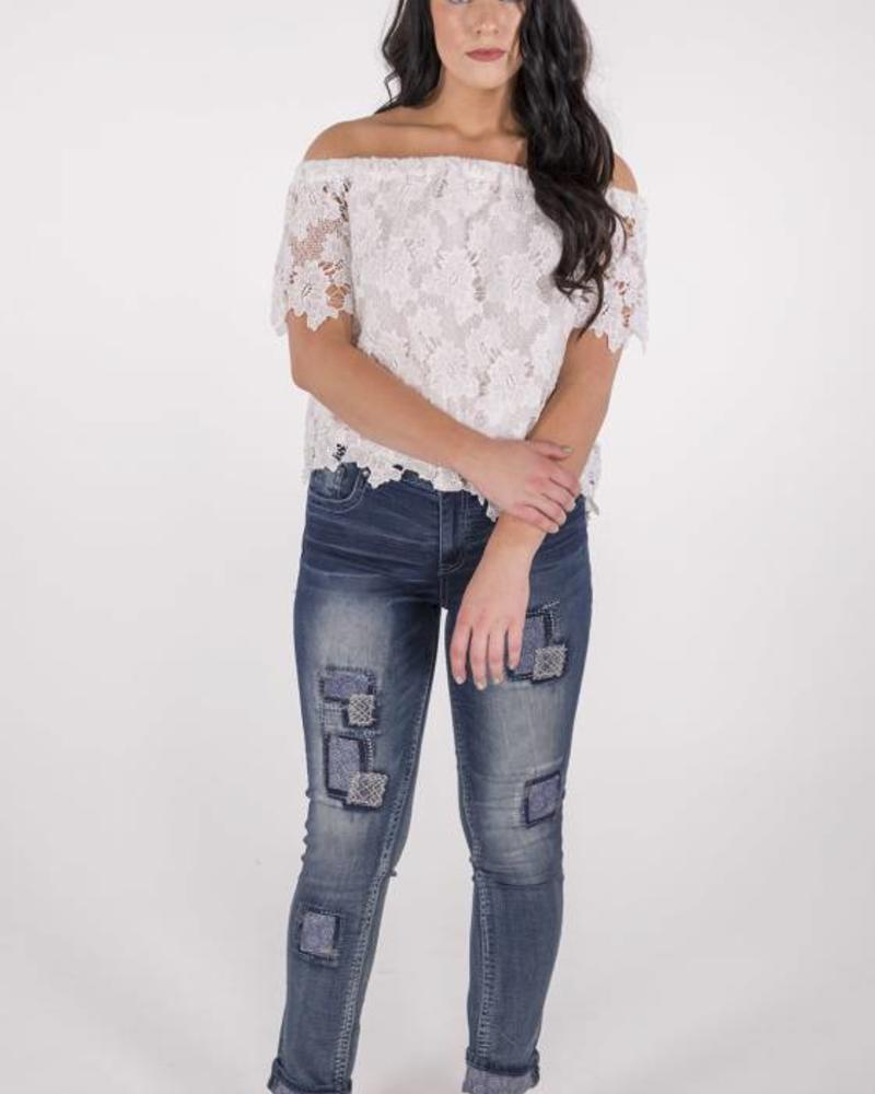 Grace in L.A. PATCH EASY FIT CROP DENIM -