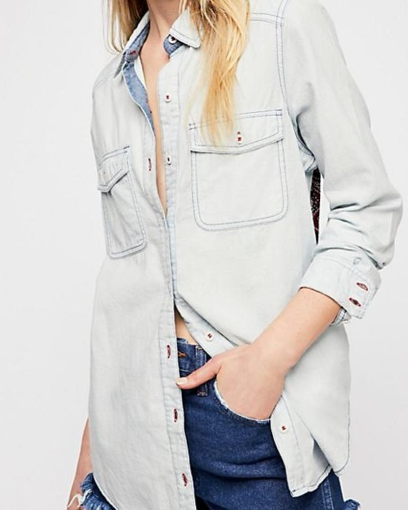 "Free People Banana Bandit Button-Down ""BLUE"""