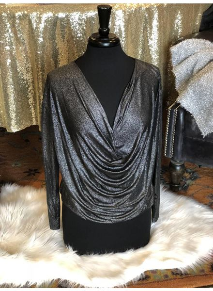 Black Shimmer Drop Front Blouse -