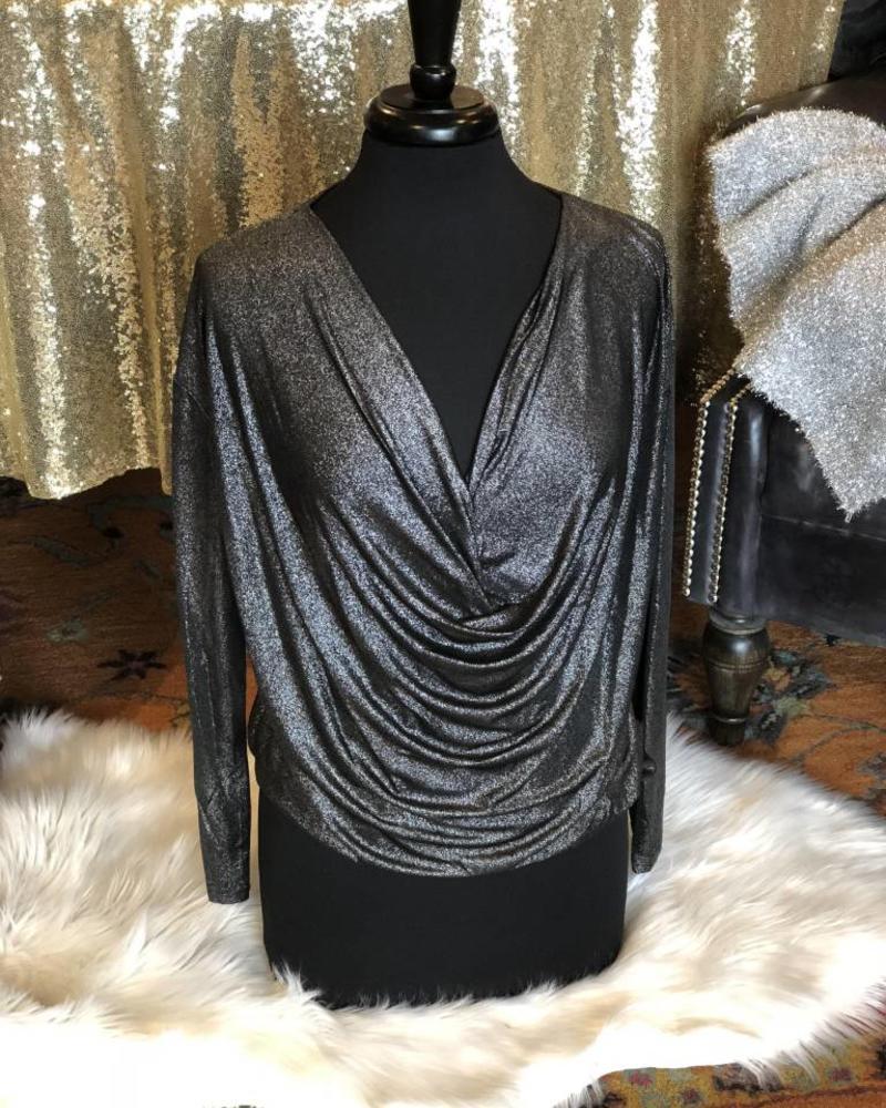 Black Shimmer Drop Front Blouse -