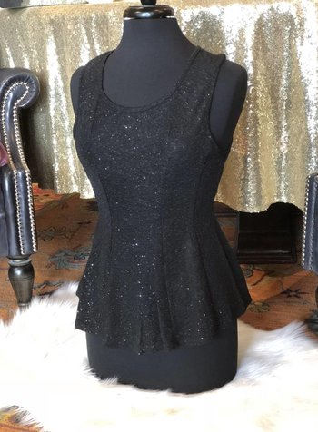 Sleeveless Black Glitzy Peplum Top -