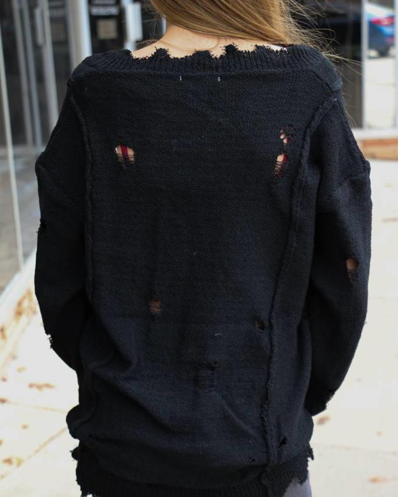 Black Distressed Sweater